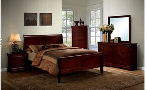 Brand new queen size bed set CHERRY COLOR for Sale in Norcross, GA