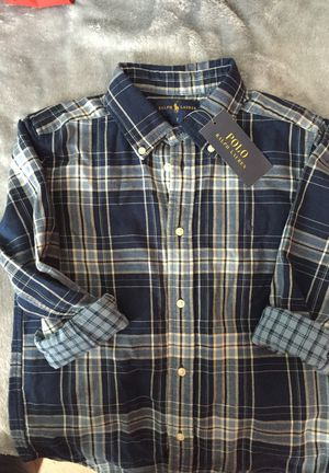 Boy's POLO Blue and White Plaid Flannel (Lightweight)Shirt (Sz 7) for Sale in Fort Washington, MD