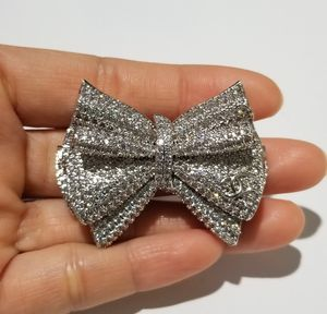 Chanell Cz diamond bow brooch pin silver for Sale in Austin, TX