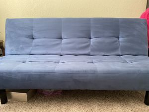 Microfiber Blue Futon - Easy pull down for Sale in West Palm Beach, FL