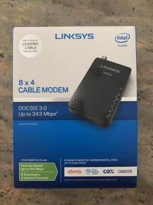 Linksys cable modem 3.0 8 x4 -Works perfectly. Upgraded to a new system That is not compatible anymore. Sells on Amazon for $45. Highly rated for Sale in Fort Lauderdale, FL
