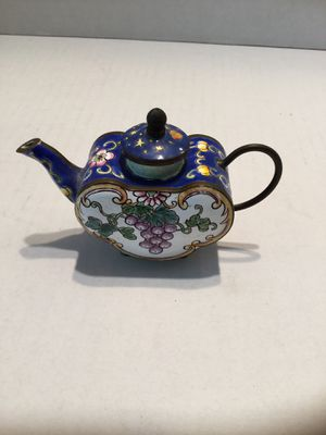 Empress Art Hand Painted Tea Kettle Metal and Enamel Absolutely Adorable for Sale in Riverside, CA