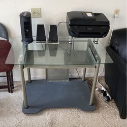 Glass Desk With Stand For Printer And Pull out tray for Sale in Kirkland,  WA