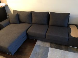 Grey Sectional with built in side table for Sale in Seattle, WA