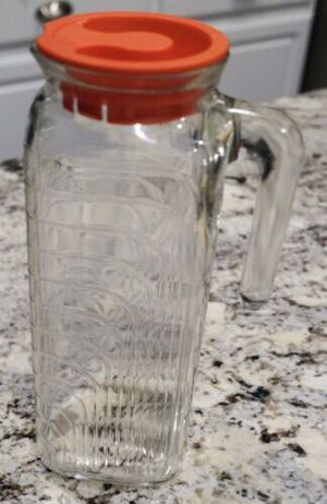 Vintage Art Deco Covetro Square Glass Refrigerator Pitcher Carafe w/Lid for Sale in Southlake, TX