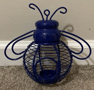 BLUE METAL BUMBLE BEE GARDEN OUTDOOR CANDLE HOLDER HOME DECOR ACCENT for Sale in Chapel Hill, NC