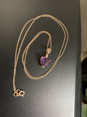 "14K Fine Solid Yellow Gold 16"" Necklace Chain With 14kt Yellow Gold Heart Shaped Amethyst with CZ Pendant estate for Sale in Mountain View, CA"