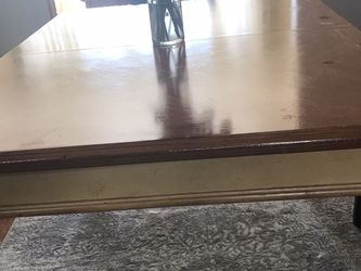 Dining Room Table And Chairs 53x37 With A 12 Inch Leaf. 6 Chairs. Also available for $60.00 Two Bar Height Bar Matching Chairs. for Sale in Mentor,  OH