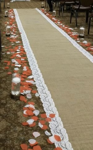 30 Foot Burlap and White Lace Wedding Aisle Runner for Sale in Rives Junction, MI