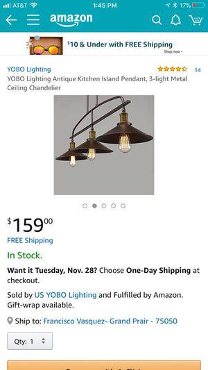 YOBO Lighting Antique Kitchen Island Pendant, 3-light Metal Ceiling Chandelier for Sale in Grand Prairie, TX