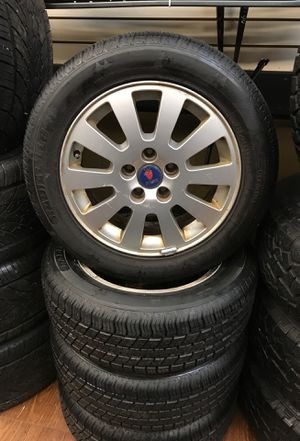 4 Saab wheels / rims 5x112 alloy with 215/55/R16 set 90% tread! for Sale in Portland, OR