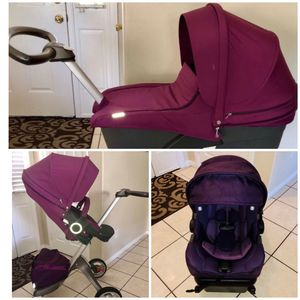 STOKKE STROLLER BASSINET NUNA CAR SEAT WITH BASE for Sale in Riverside, CA