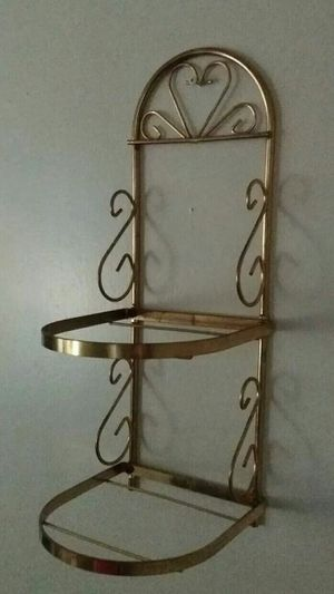 Vintage Gold Metal Small Wall Rack With 2 Shelves for Sale in Chapel Hill, NC
