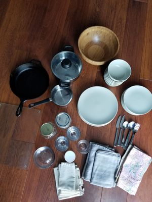 Kitchen things: dishes- plates, bowls, jars, cutting board, cast iron pan, towels etc for Sale in Centreville, VA