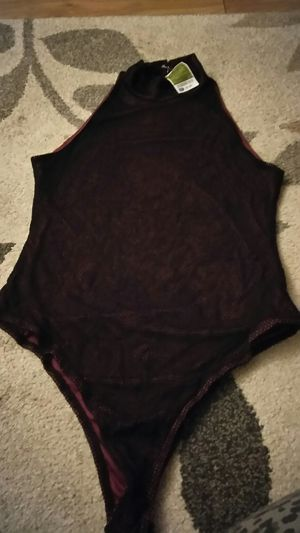 Black lace with dark red under one piece blouse for Sale in San Jose, CA