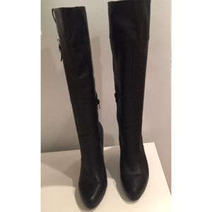 Banana Republic 'Evie' Black leather high-heeled boots 9 1/2 for Sale in Palm Springs, CA
