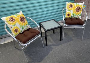 Cute 3 piece outdoor patio set furniture with pillows BRAND NEW 🔥🔥🔥 FREE DELIVERY WITHIN 5 MILES 👍 for Sale in Las Vegas, NV