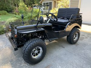 Gas powered mini willys Jeep golf cart , camp ground cruiser!! for Sale in Arlington, WA