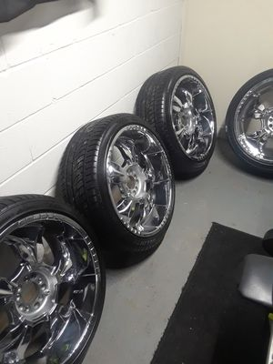 Chrome rims and tires for sale for Sale in Evansville, IN