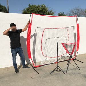 New $95 Baseball Practice (3pc Set) includes the 7'x'7 Net Bow Frame, Ball Tee and Caddy Bag for Sale in El Monte, CA