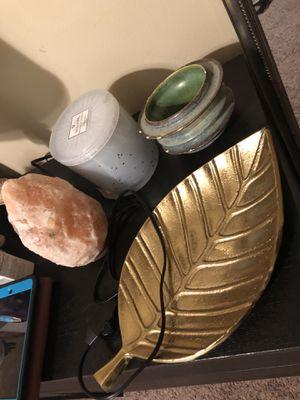 Salt lamp, leaf holder, candle holder, pot for Sale in Austin, TX