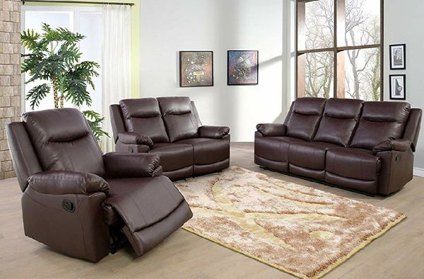New Reclining set Brown Bonded leather
