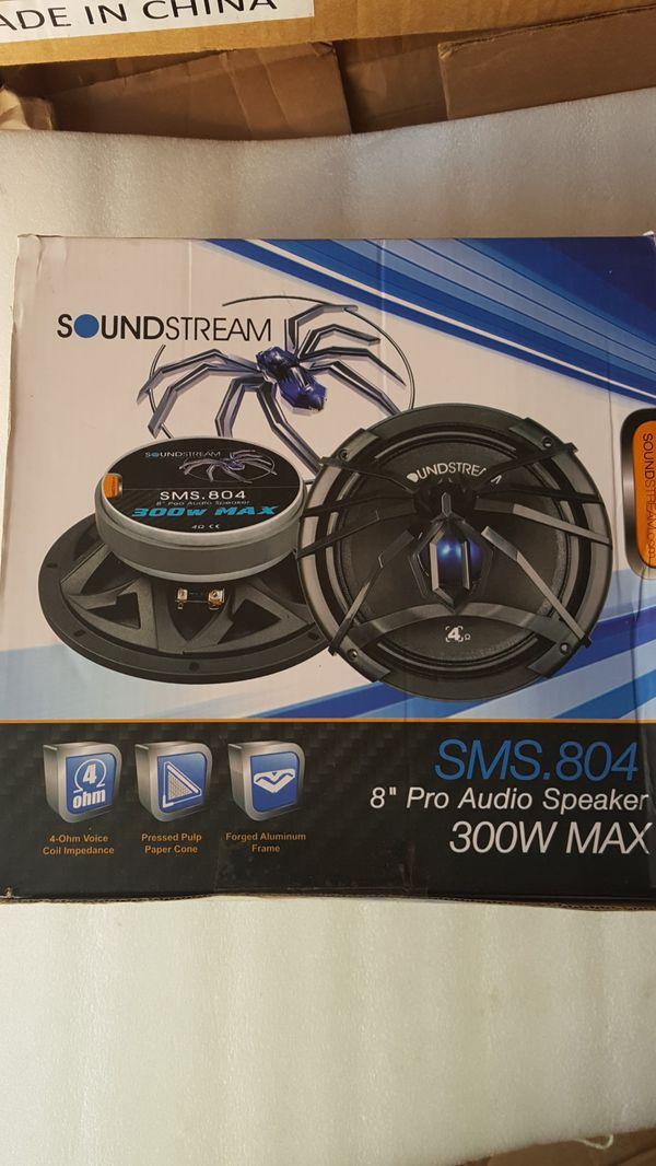 """Soundstream SMS.804 8"""" 150W RMS Shallow Pro Audio Midrange Speaker 300W Max 4 Ohm"""