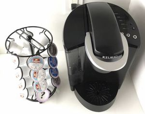 Classic Keurig coffee maker in black, with 24 K-cup rotating tower for Sale in Yorba Linda, CA
