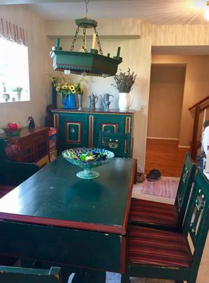 Antique Danish painted pine dining set table chairs upholstered bench w/storage beneath Buffett chandelier with electric/candle light for Sale in Seattle, WA