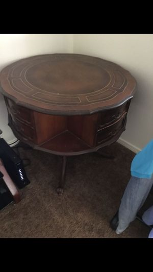 Antique round swivel table. Drawers turn for Sale in Madera, CA