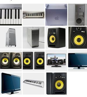 Pkg deal: Apple Pro Dual station, KRK Rokit8, M Audio 49 Keyrig, 65' HD Phillips for Sale in Chicago, IL