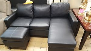 Brand New Black Faux Leather Sectional Sofa Couch + Ottoman for Sale in Chevy Chase, MD