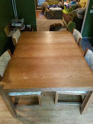Wood Dining Table With Two Leaves And Four Chairs - Will Deliver for Sale in Sterling, VA
