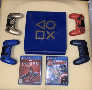PS4 Slim Blue edition 1TB 4. Controllers for Sale in Long Beach, CA