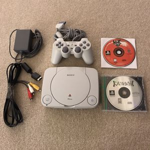 Playstation 1 ps1 psone system console with 2 video games controller cables rayman mortal kombat 3 for Sale in Burtonsville, MD