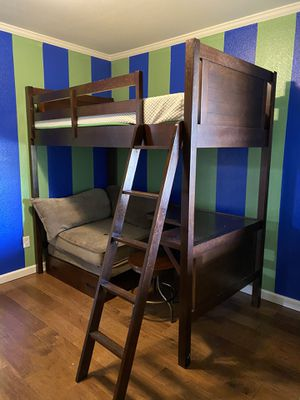Twin bunk bed desk loft included tempurpedic mattress for Sale in Citrus Heights, CA