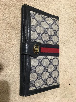 Gucci Navy Large G Logo Print Coated Canvas/ Leather Vintage Wallet for Sale in Washington, DC