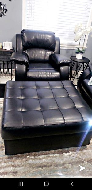 Leather chair with ottoman for Sale in Dearborn, MI