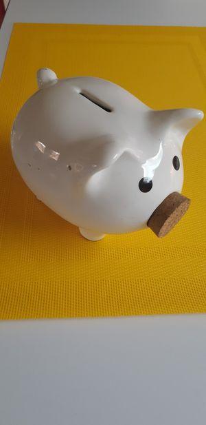 White Ceramic Piggy Bank with Cork Nose for Sale in Garden Grove, CA