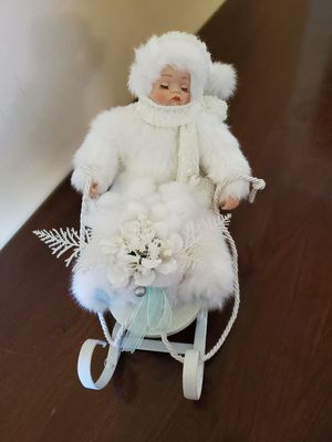 Christmas Decor - Sleeping doll Sled for Sale in Worcester, MA