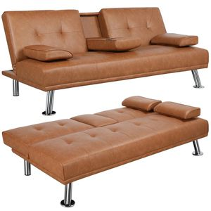 Brown Imitation Leather Futon for Sale in Long Beach, CA