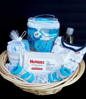 Baby boy blue gift basket for Sale in Tampa, FL