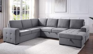 4 PIECE GRAY FABRIC RIGHT ARM FACING SECTIONAL CHAISE STORAGE SOFA COUCH SLEEPER BED / SILLON SECCIONAL GRIS CAMA for Sale in Temecula, CA