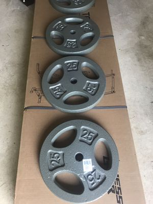 7 piece of weights plates 25 Lbs. 1 inch for Sale in Centreville, VA