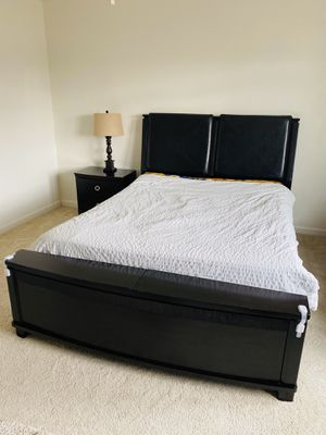 Ashley all wood sturdy Queen bed and a night stand for Sale in San Jose, CA