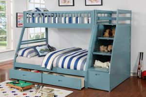 Columbus Day Special- [SPECIAL] Merlin Light Blue Twin over Full Staircase Bunk Bed with 2 Storage Drawers for Sale in Houston, TX