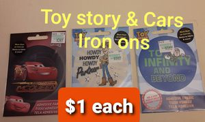 Toy story & Cars Iron ons for Sale in CARPENTERSVLE, IL