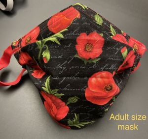 Handmade Flowers (Poppies) Adult face mask with Adjustable ear straps and nose wire for Sale in Fontana, CA