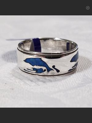NWT Sterling Silver & Paua Shell Inlay Dolphin Band Ring Size 9 for Sale in Durbin, WV