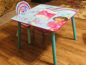 Kids Dora table and 2 chairs..wooden for Sale in Alpharetta, GA